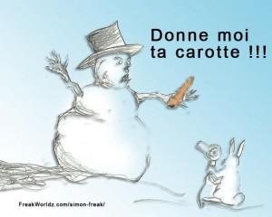 Donne moi ta carotte - Blague de bonhomme de neige
